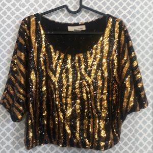 Sans Souci gold black animal stripe sequin crop